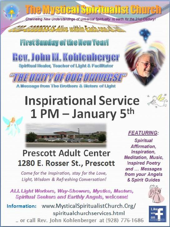 You are invited to come to our monthly services in north-central Arizona