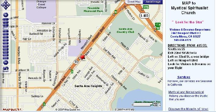 Your map to Mystical Spiritualist Church Services in Orange County, Califonia