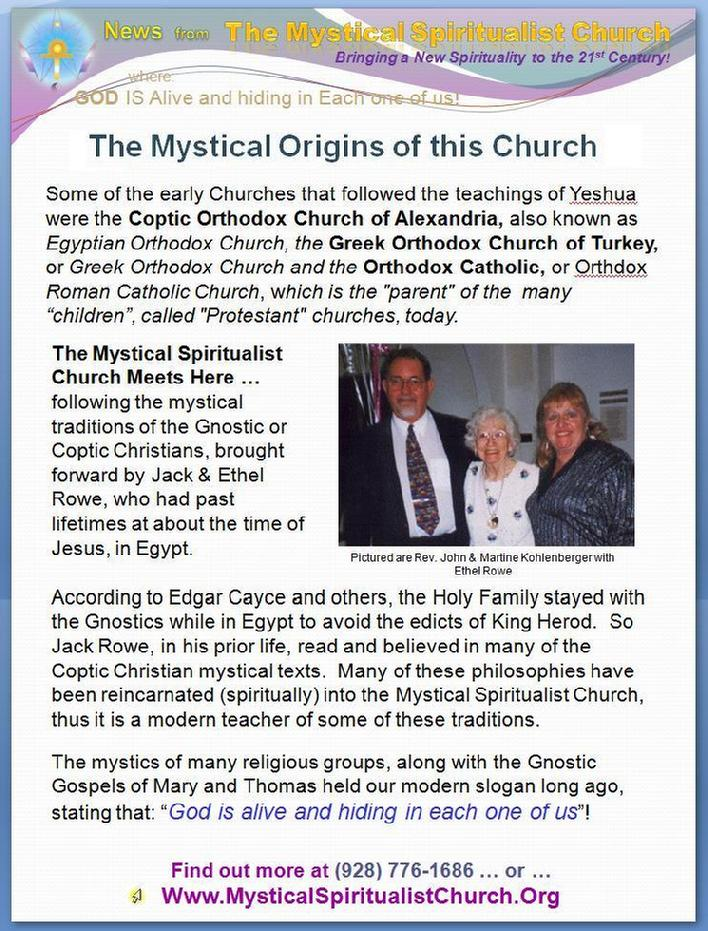 Find out more about the Origins of the Mystical Spiritualist Church in western north central Arizona